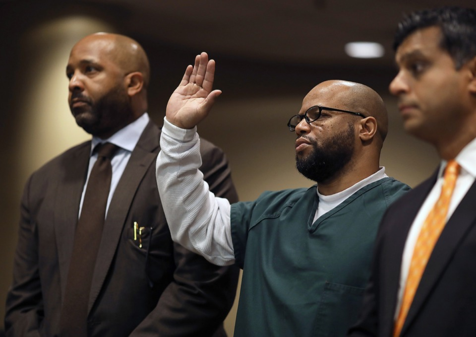"""<strong>&ldquo;I abundantly think he is innocent,"""" attorney John Perry (left) said when he was defending Billy Ray Turner (center) in the Lorenzon Wright murder case. It was not a popular position. </strong>&nbsp;(Patrick Lantrip/Daily Memphian)"""