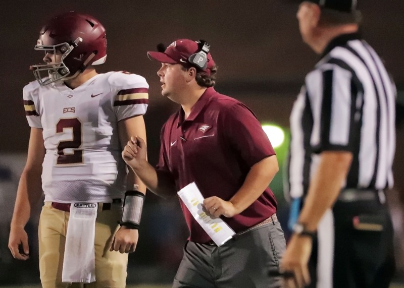 <strong>Evangelical Christian School head coach Trey Adams calls a play Friday at Houston in what ended as a 36-20 loss.</strong> (Jim Weber/Daily Memphian)