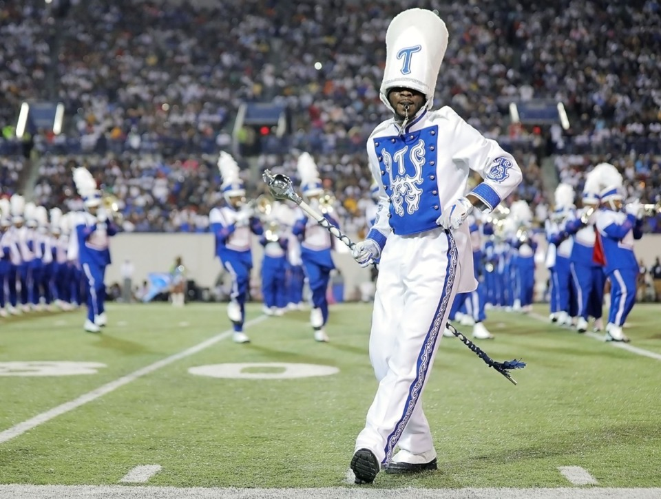 <strong>A Tennessee State University band leader dances in front of the TSU powder-blue formation during the halftime show for the 30th annual Southern Heritage Classic at the Liberty Bowl Memorial Stadium on Saturday, Sept. 14, 2019.</strong> (Patrick Lantrip/Daily Memphian)
