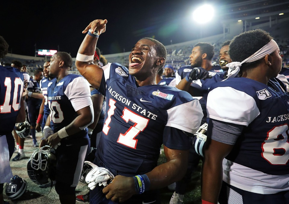 <strong>Jackson State University running back Jordan Johnson (17) celebrates after a 49-44 victory over rival Tennessee State at the 30th annual Southern Heritage Classic at Liberty Bowl Memorial Stadium on Saturday, Sept. 14, 2019.</strong> (Patrick Lantrip/Daily Memphian)