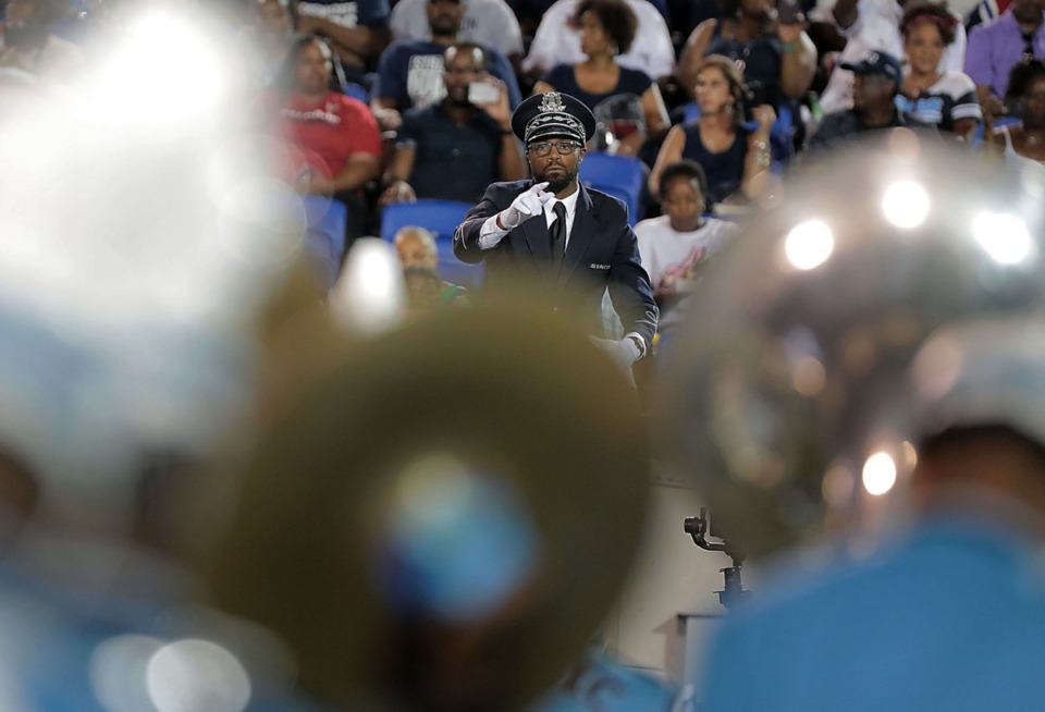"<strong>The conductor for the Jackson State University band directs his group during a performance of ""I Will Always Love You"" during the halftime show at the 30th annual Southern Heritage Classic at&nbsp; Liberty Bowl Memorial Stadium on Saturday, Sept. 14, 2019.</strong> (Patrick Lantrip/Daily Memphian)"