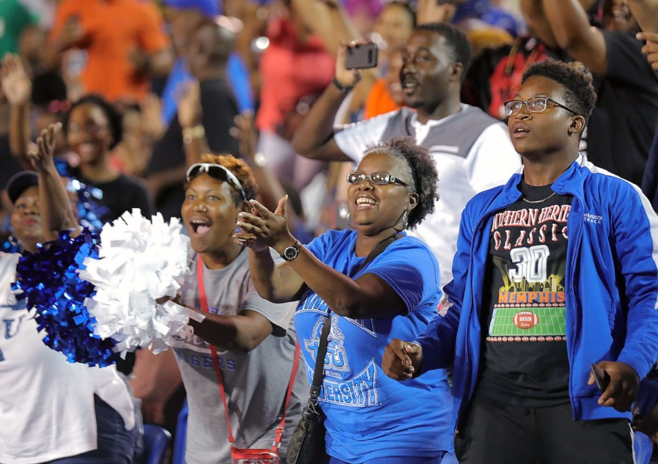 <strong>Tennessee State University fans react to their team's halftime performance at the 30th annual Southern Heritage Classic at Liberty Bowl Memorial Stadium on Saturday, Sept. 14, 2019.</strong> (Patrick Lantrip/Daily Memphian)