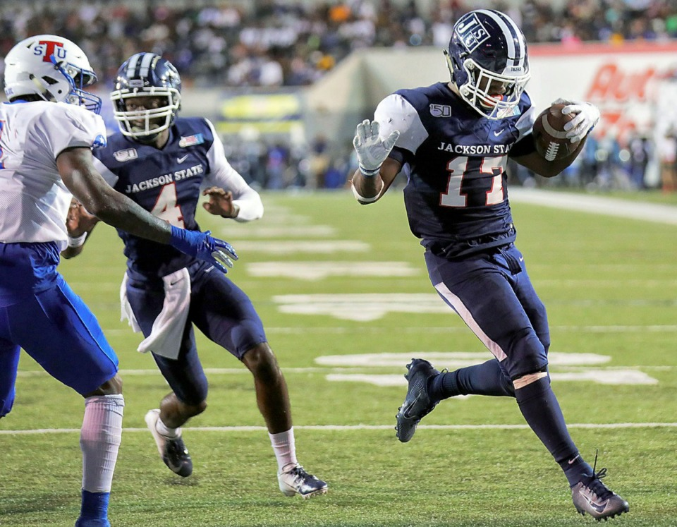 <strong>Jackson State University running back Jordan Johnson (17) tiptoes into the endzone during the third quarter of the 30th annual Southern Heritage Classic at the Liberty Bowl Memorial Stadium on Saturday, Sept. 14, 2019.</strong> (Patrick Lantrip/Daily Memphian)