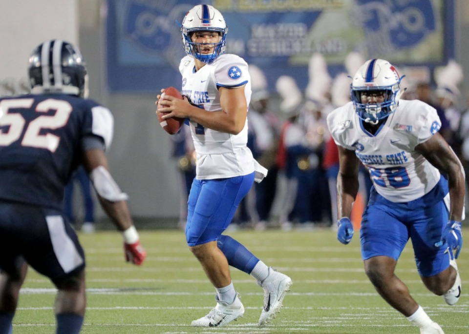<strong>Tennessee State University quarterback Cameron Rosendahl (17) searches for an open receiver during the 30th annual Southern Heritage Classic at the Liberty Bowl Memorial Stadium in Memphis on Saturday, Sept. 14, 2019.</strong> (Patrick Lantrip/Daily Memphian)