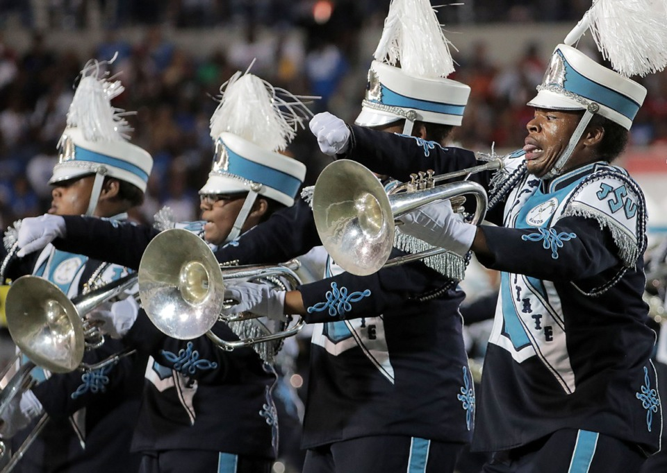 <strong>The Jackson State University band performs during the halftime show of the 30th annual Southern Heritage Classic at Liberty Bowl Memorial Stadium in Memphis on Saturday, Sept. 14, 2019. </strong>(Patrick Lantrip/Daily Memphian)