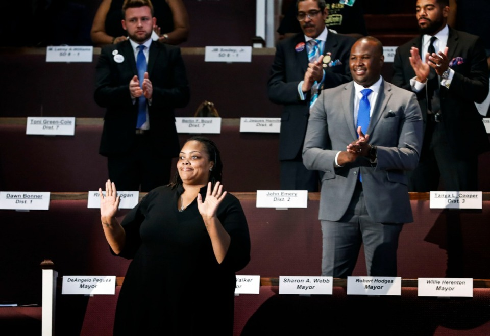 <strong>Mayoral candidate Tami Sawyer is introduced during the second meeting of the Memphis Interfaith Coalition for Action and Hope (MICAH) at the Mt. Vernon Baptist Church Sept. 15, 2019.</strong> (Mark Weber/Daily Memphian)