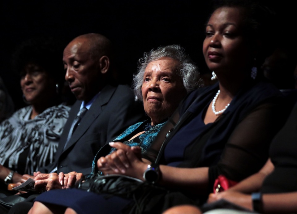 <strong>Zelma Dillihunt, sister of the late Memphis State 8 member Sammie Burnett Johnson, listens intently as one of her sister's colleagues reminisces about their groundbreaking time as the first African American students to attend the university. The Memphis State 8 were honored on campus Sept. 18 at a 60th anniversary ceremony.</strong> (Patrick Lantrip/Daily Memphian)