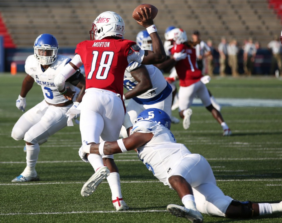 <strong>Memphis defensive end Everitt Cunningham (5) pressures South Alabama quarterback Tylan Morton (18), causing an interception in the second half of a NCAA football game Sept. 14, 2019, at Ladd-Peebles Stadium in Mobile, Ala.</strong> (Mike Kittrell/AL.com)