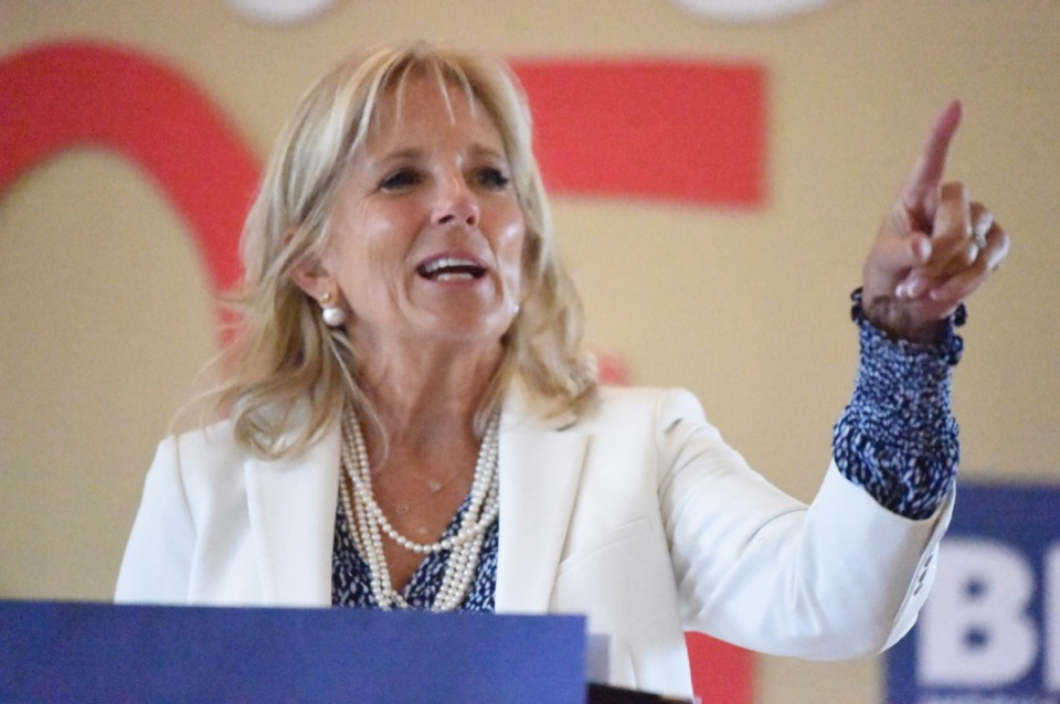 <strong>Jill Biden, seen here in Great Falls, S.C., Aug. 24, has been a staunch campaigner for her husband, presidential contender Joe Biden. &ldquo;I don&rsquo;t really care if they may be for another candidate,&rdquo; she said at a Germantown gathering Sept. 19. &ldquo;It&rsquo;s just to see there is something to being involved in the process.&rdquo; </strong>(Meg Kinnard/AP)