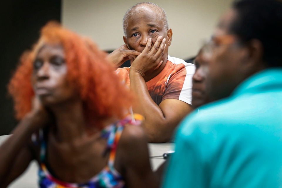 <strong>Binghampton residents including Charlene Davis (middle) attended a community zoning meeting about Tillman Cove last week at the offices of Binghampton Development Corp.</strong> (Mark Weber/Daily Memphian)