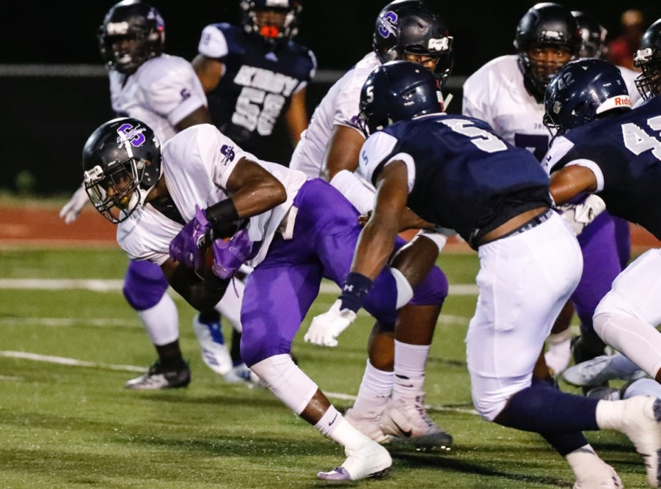 <strong>Southwind running back Steve Guy (with ball) gains some yardage against the Kirby defense Friday, Sept. 20, 2019.</strong> (Mark Weber/Daily Memphian)