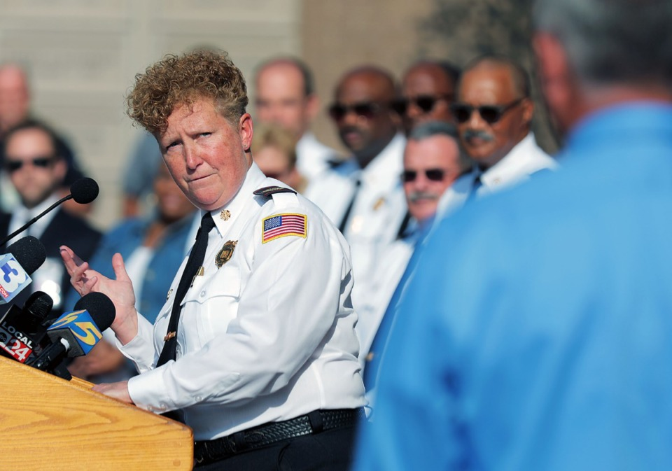 <strong>Memphis Fire Department director Gina Sweat announced on&nbsp;Sept. 20, 2019, that her department has achieved Insurance Service Office Class 1 Public Protection Rating status.</strong> (Patrick Lantrip/Daily Memphian)