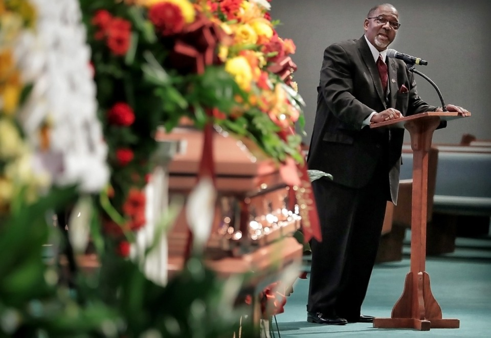 "<strong>Tyler Glover Jr. shares humorous anecdotes about his father as family, friends and members of the Orange Mound community remember Tyler Glover Sr. during a memorial service at Brown Baptist Church in Southaven on Sept. 21, 2019. The 89-year old restaurateur was revered as the ""Mayor of Orange Mound"" for his loyalty to the neighborhood, generosity and community involvement.</strong> (Jim Weber/Daily Memphian)"