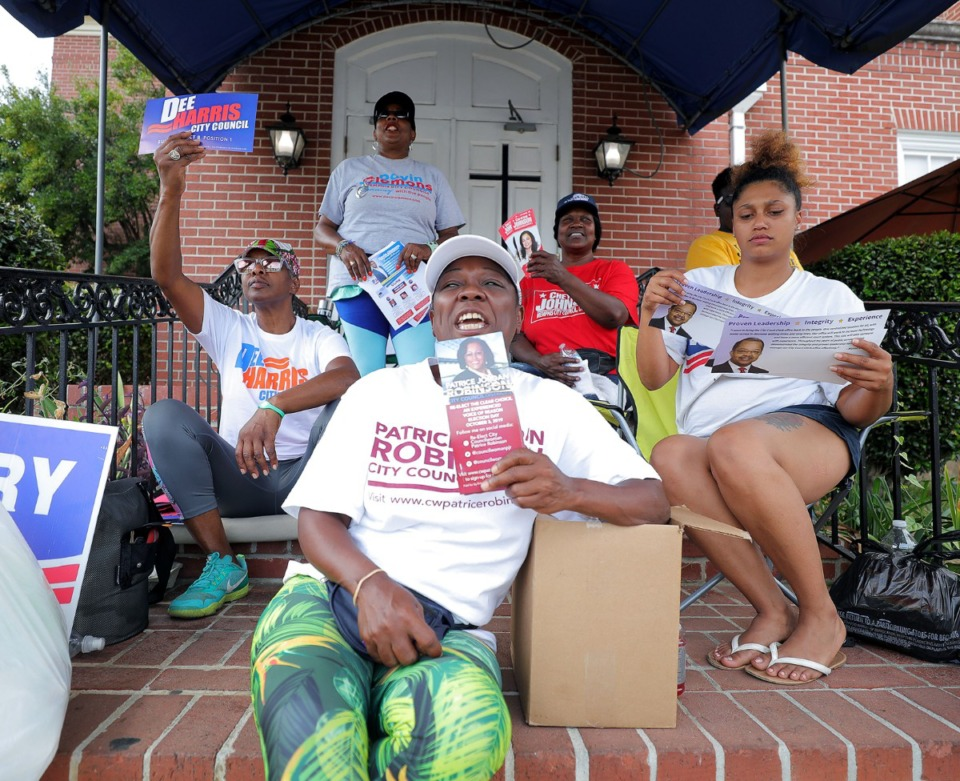 <strong>Nearly every eligible politician had a representative or two outside of Abundant Grace Fellowship Church in Whitehaven as early voters filed into the polling location Sept. 20, 2019.</strong> (Patrick Lantrip/Daily Memphian)