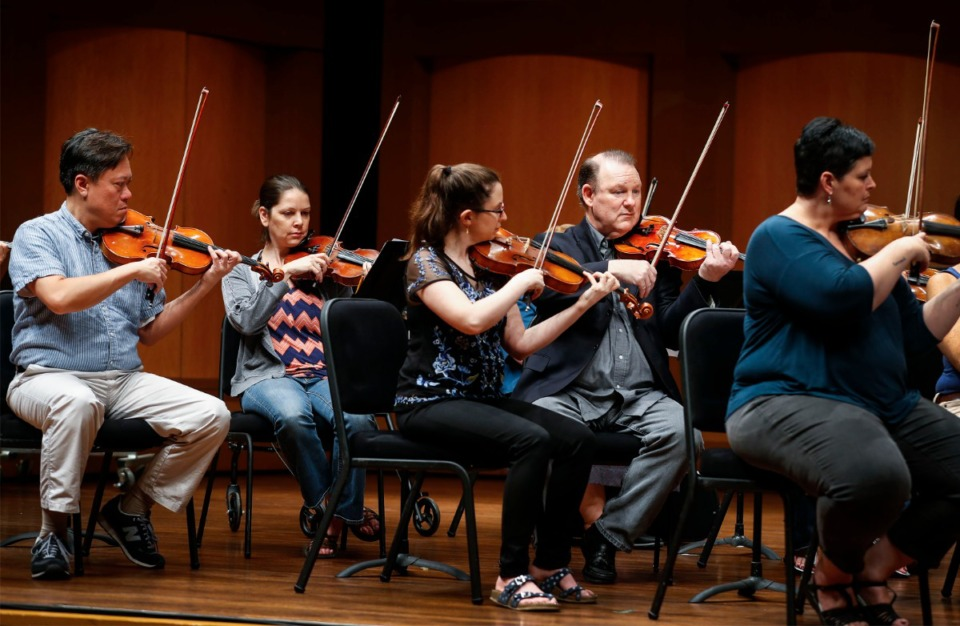 <strong>Members of the Memphis Symphony Orchestra rehearse for their upcoming season at the Cannon Center.</strong> (Mark Weber/Daily Memphian)