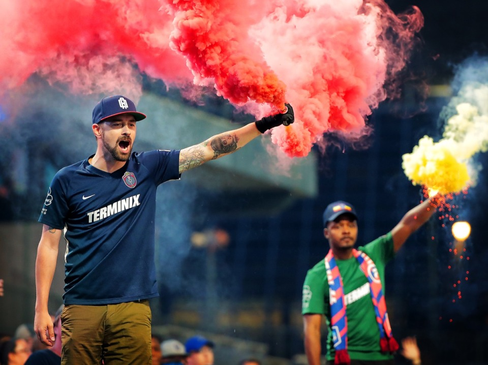 <strong>Memphis Mafia soccer fans cheer their team onto the field against the Riverhounds Sept. 24.</strong> (Jim Weber/Daily Memphian)