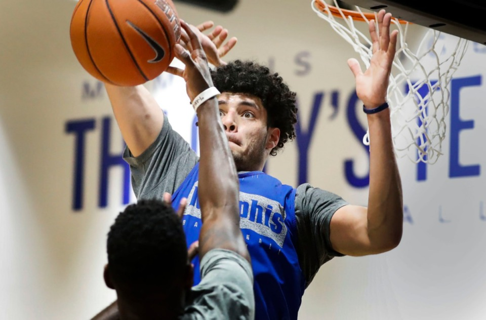 <strong>University of Memphis forward Isaiah Maurice blocks a shot during an open practice in front of the Rebounders Club at Laurie-Walton Family Basketball Center Tuesday, Sept. 24, 2019.</strong> (Mark Weber/Daily Memphian)