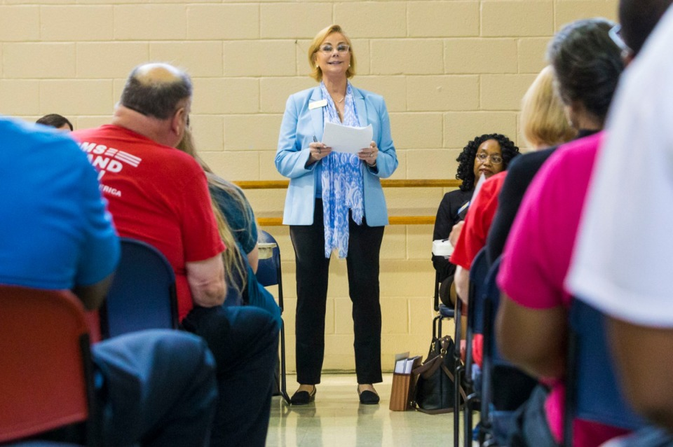 <strong>State Sen. Sara Kyle speaks on gun violence Thursday evening at the Ed Rice Community Center in Frayser. </strong>(Ziggy Tucker/Special to The Daily Memphian)