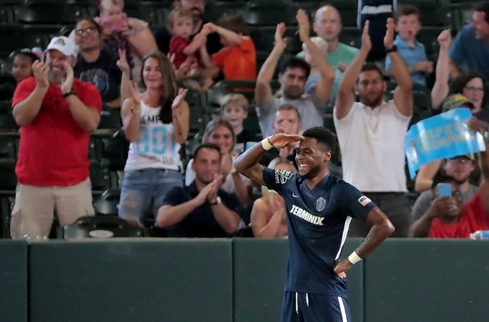 <strong>Memphis 901 FC midfielder Marcus Epps celebrates after a score against Bethlehem Steel at AutoZone Park on Saturday, Sept. 28.</strong> (Jim Weber/Daily Memphian)