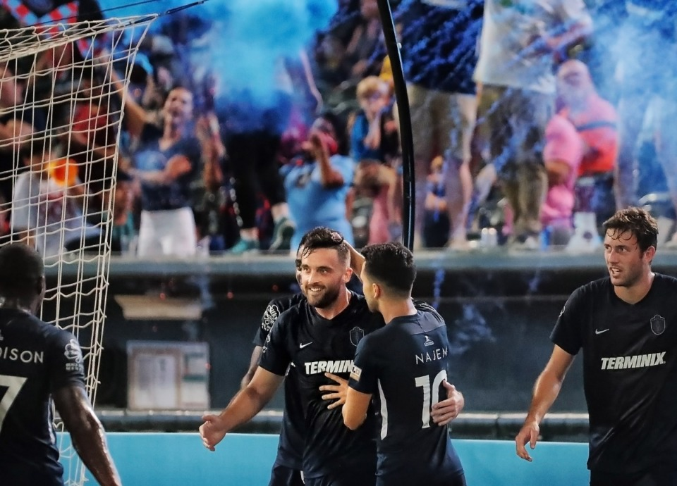 <strong>Memphis 901 FC forward Brandon Allen (center) celebrates with teammates after scoring against Bethlehem Steel at AutoZone Park on Saturday, Sept. 28.</strong> (Jim Weber/Daily Memphian)