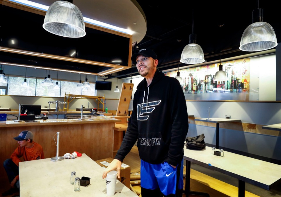 <strong>Former Memphis Grizzlies and current Memphis Tigers assistant coach Mike Miller checks on the progress of his new restaurant, Let It Fly.</strong> (Mark Weber/Daily Memphian)