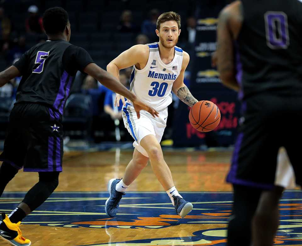<strong>University of Memphis guard Evin Olds (30) moves the ball down the court during the Tigers' game against LeMoyne-Owen at FedExForum on Oct. 25, 2018.</strong> (Jim Weber/Daily Memphian)
