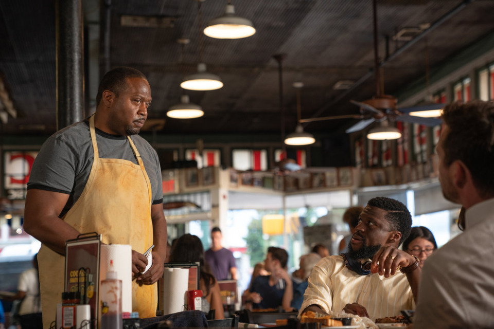 "<strong>Anthony Bertram (left) plays restaurateur Charlie Cooper and Michael Luwoye portrays attorney Anthony Little at Blues City Cafe, in episode 2 of ""Bluff City Law.""</strong> (Connie Chornuk/NBC)"