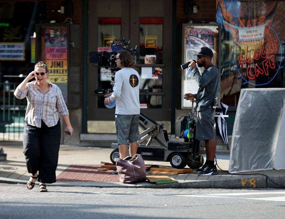 "<strong>Film crews for the new NBC drama ""Bluff City Law"" descended on Beale Street Monday, Aug. 19, to shoot a scene inside Rum Boogie Cafe.</strong><span>&nbsp;(Patrick Lantrip/Daily Memphian)</span>"