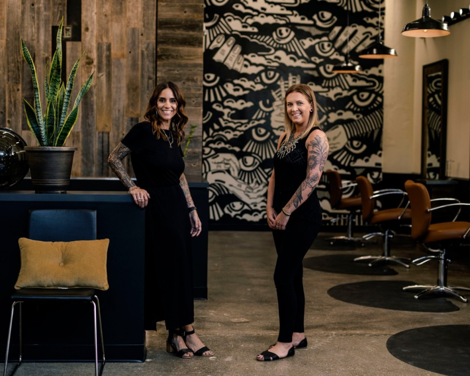 <strong>Barbara Barnett (left) and Whitney Adams are the owners of Hero &amp; Sage. The first hair salon in Crosstown Concourse will open Oct. 1.</strong> (Houston Cofield/Special to The Daily Memphian)