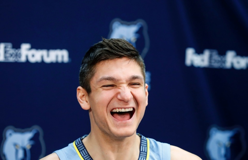 <strong>Grayson Allen appears mighty pleased during a TV interview &nbsp;during the Memphis Grizzlies Media Day.</strong> (Mark Weber/Daily Memphian)