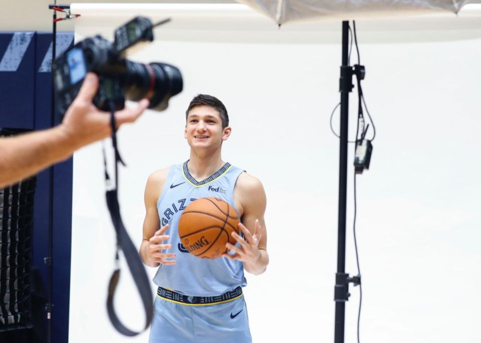 <strong>Grayson Allen cooperates during a photo shoot at the Memphis Grizzlies Media Day.</strong> (Mark Weber/Daily Memphian)