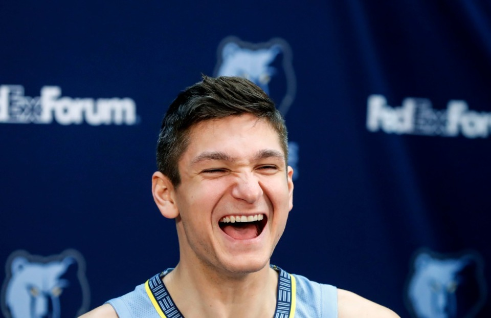 <strong>Could former college basketball bad boy Grayson Allen (yukking it up at&nbsp;Grizzlies Media Day Monday) become a Memphis fan favorite? </strong>(Mark Weber/Daily Memphian)