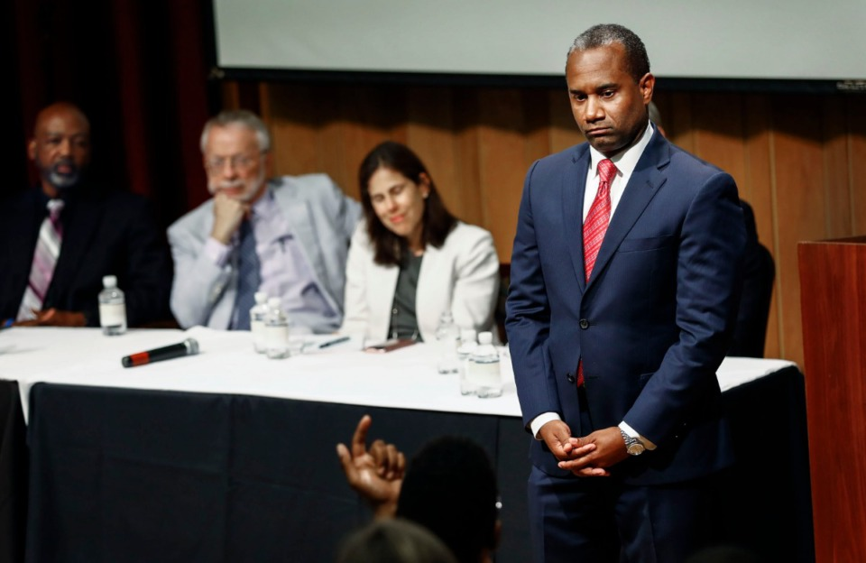 <strong>Court-appointed monitor Ed Stanton (right) listens to questions during a public forum on the Memphis Police Department's surveillance conduct of protesters. The forum was held on July 11 at Mississippi Boulevard Christian Church.</strong> (Mark Weber/Daily Memphian file)