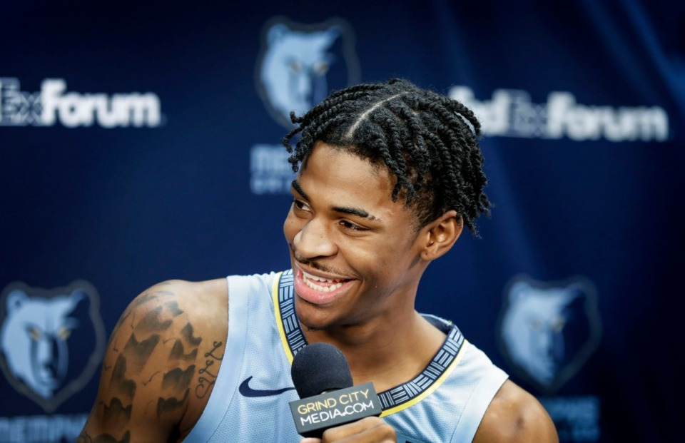 """<strong>Ja Morant (at Memphis Grizzlies media day Monday) said his first day of practice Tuesday """"was almost like the first day of school again. It's like, 'Wow, you're having your first NBA practice.""""</strong> (Mark Weber/Daily Memphian)"""