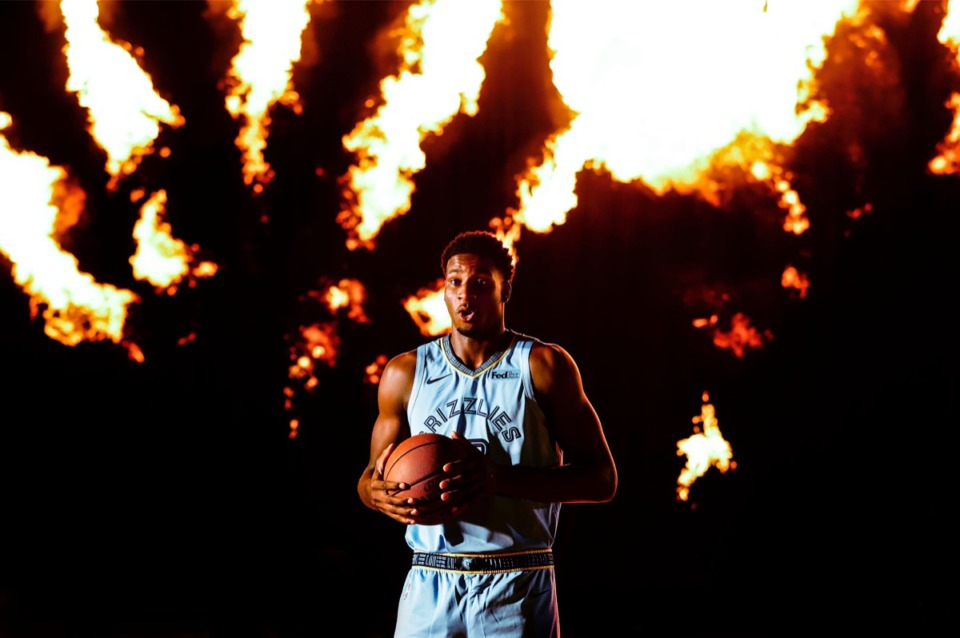 <strong>Jaren Jackson Jr. reacts to the intense heat of background flames while doing a video shoot during the Memphis Grizzlies media day Monday, Sept. 30, 2019.</strong> (Mark Weber/Daily Memphian)
