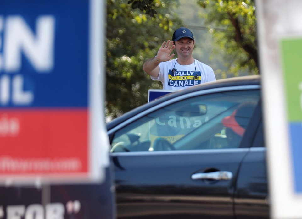 <strong>Memphis City Council member Ford Canale waves to voters outside of Davis Community Center on Election Day Oct. 3, 2019, as a bit of last-minute campaigning.</strong> (Patrick Lantrip/Daily Memphian)