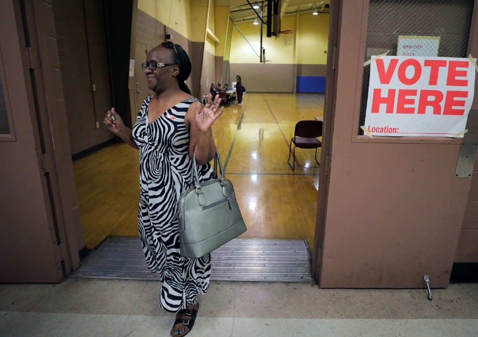 <strong>Teresa Hinton leaves the Dave Wells Community Center gymnasium after voting on Election Day on Oct. 3, 2019.</strong> (Patrick Lantrip/Daily Memphian)