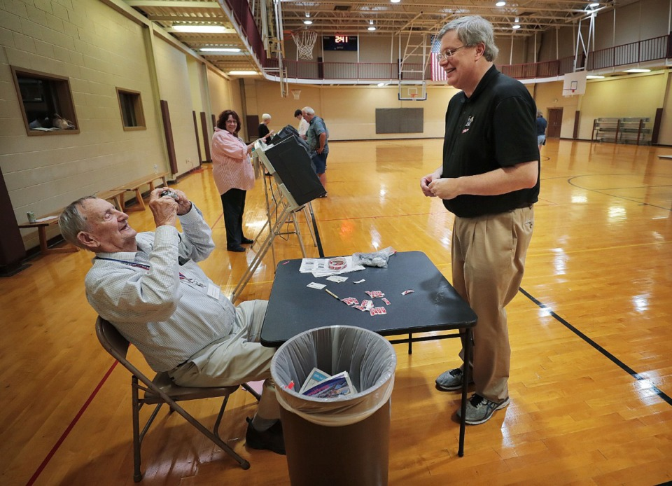 <strong>Memphis Mayor Jim Strickland gets his picture taken by poll worker Thomas Ungren after casting his vote during a day of ballot casting at Second Baptist on Oct. 3, 2019. Memphians turned out to vote on a number of local elections on Oct. 3, 2019 including a sales tax increase, City Council races and a contentious mayoral race.</strong> (Jim Weber/Daily Memphian)&nbsp;
