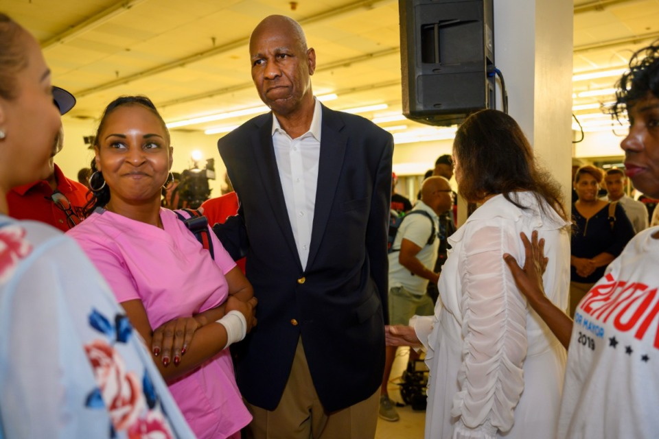 <strong>Former Memphis Mayor Willie Herenton concedes to incumbent Mayor Jim Strickland Thursday night at his headquarters on South Third after losing more than 2 to 1 in early returns. </strong>(Greg Campbell/Special to The Daily Memphian)