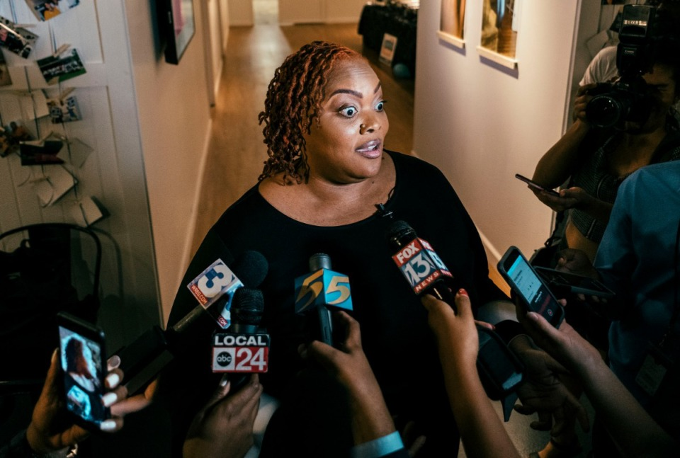 """<strong>Challenger Tami Sawyer speaks to the media after conceding to incumbent Mayor Jim Strickland in the 2019 Memphis mayoral race. Sawyer spoke to her supporters at The CLTV CMPLX in Orange Mound, letting them know that """"change doesn't stop here.""""</strong> (Houston Cofield/Special to The Daily Memphian)"""
