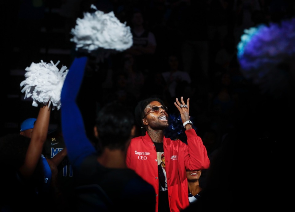 <strong>Former Tiger Supreme Bey is introduced during Memphis Madness Oct. 3.</strong> (Mark Weber/Daily Memphian)