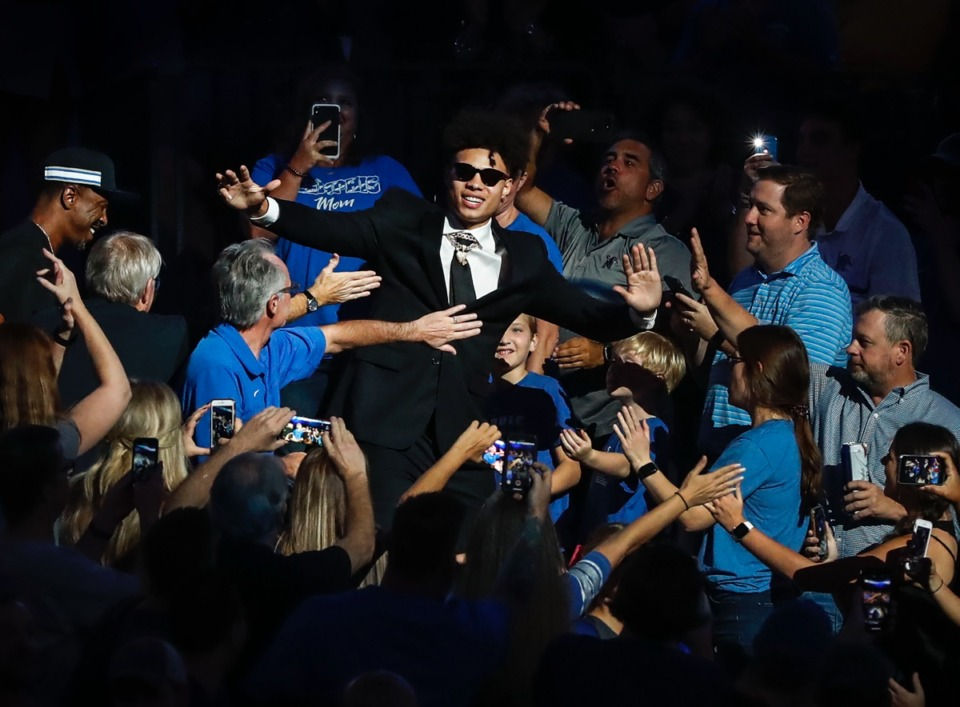 <strong>Tiger Lester Quinones mixes with the crowd during Memphis Madness.</strong> (Mark Weber/Daily Memphian)