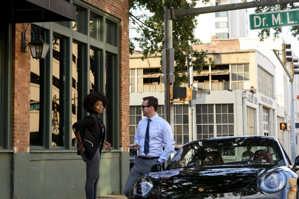 "<strong>Colleagues Briana (MaameYaa Boafo) and Jake (Barry Sloane) meet outside of the Strait &amp; Associates offices at Front and MLK in the third episode of ""Bluff City Law."" </strong>(Katherine Bomboy/NBC)"