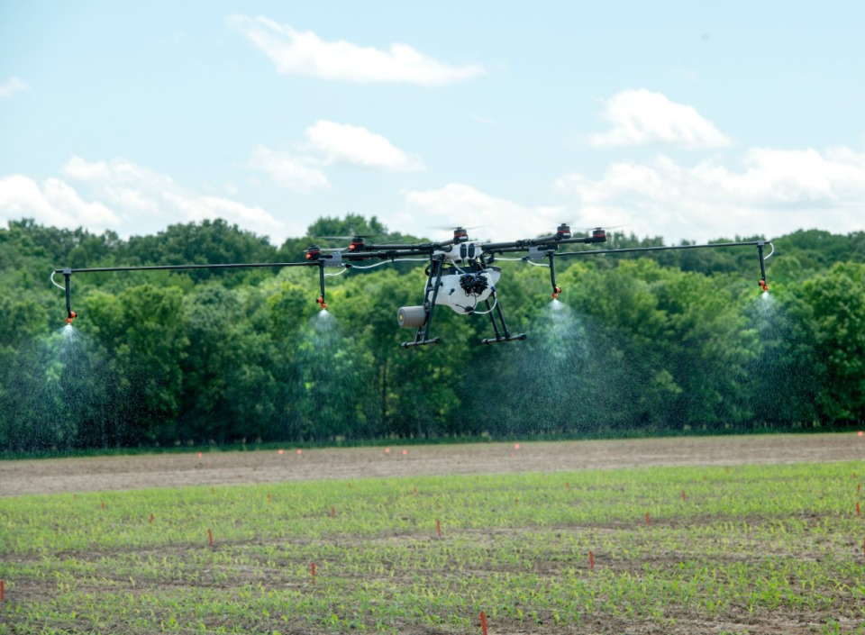 <strong>The new Innovation District will be a hub for agricultural technology and research, such as the crop-spraying drone&nbsp; demonstrated at the Davos on the Delta field day May 13, 2019 at the Agricenter.</strong>&nbsp;(Greg Campbell/The Daily Memphian file)
