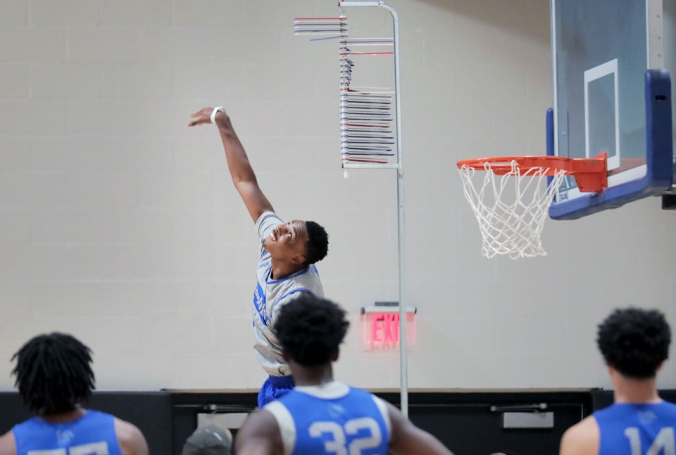<strong>University of Memphis forward DJ Jefferies pushes the extremes of his vertical leap during Pro Day at the Laurie-Walton Practice Facility Oct. 7.</strong> (Patrick Lantrip/Daily Memphian)