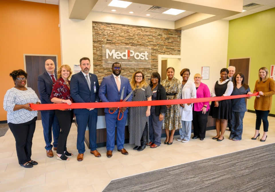 <strong>MedPost and Saint Francis team members at the ribbon cutting Oct.7, 2019 for the newest MedPost Urgent Care location at 4562 Poplar Avenue, next to Chicken Salad Chick. </strong>(Submitted)
