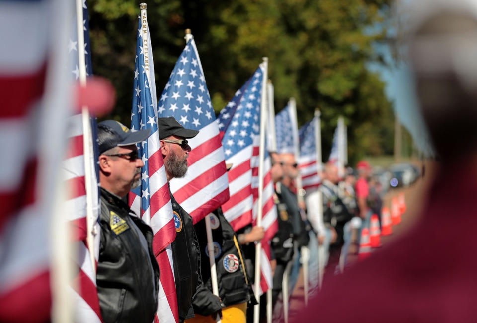 <strong>Patriot Guard Riders line up along Forest Hill Irene to honor a funeral procession for Major Trevor Joseph Oct. 8.</strong> (Jim Weber/Daily Memphian)