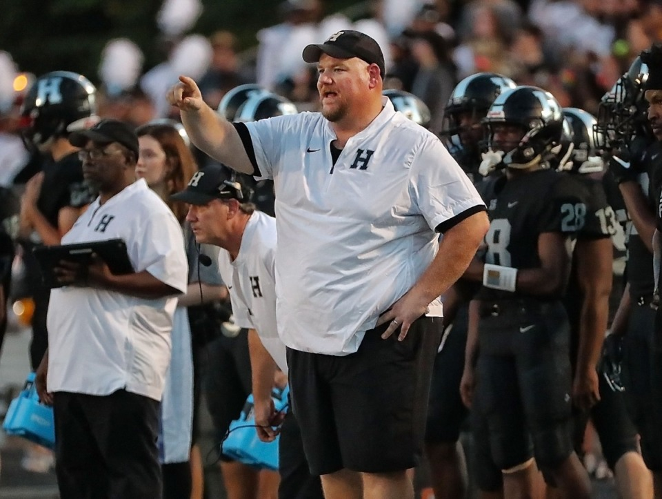 <strong>Houston Head Coach James Thomas calls a play during Houston High School's 36-20 win over ECS&nbsp; on Sept. 13. </strong>(Jim Weber/Daily Memphian)