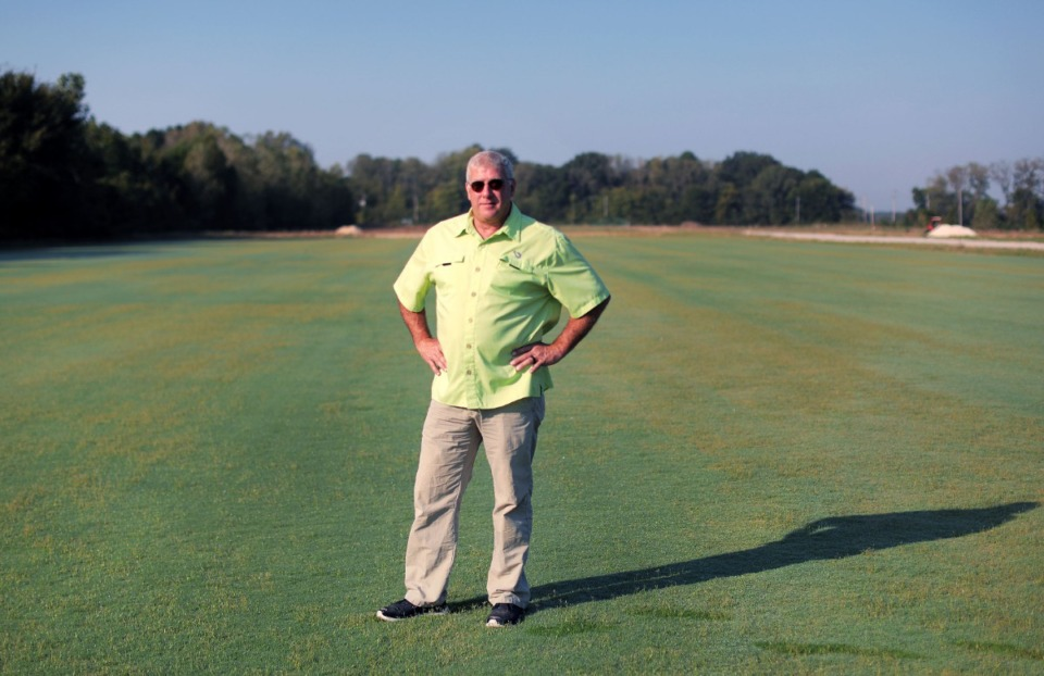 <strong>Bobby Winstead, owner of Winstead Turf Farms, on a fresh turf field grown for the University of Arkansas at one of his fields near the Fayette-Shelby line Oct. 3, 2019.</strong> (Patrick Lantrip/Daily Memphian)