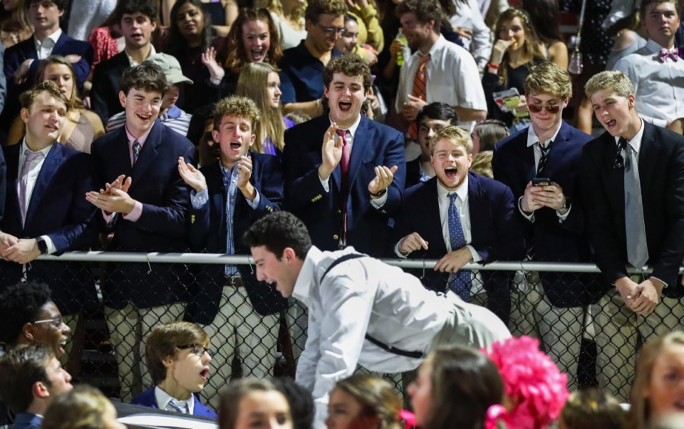 <strong>Houston students celebrate a touchdown against Collierville Oct. 10.</strong> (Mark Weber/Daily Memphian)